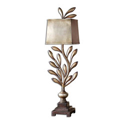 Uttermost - Uttermost Angelita Table Lamp in Heavily Antiqued Champagne - Shown in picture: Heavily Antiqued Champagne Leaf With A Dark Gray Wash - Burnished Edges And Dark Chestnut Brown Details. This metal lamp has a heavily antiqued champagne leaf finish with a dark gray wash - burnished edges and dark brown details. The metal shade is finished in an antiqued silver leaf with burnished edges.