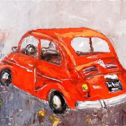 "Con Te Partiro (Original) by Judy Mackey - From Andrea Botchelli's song ""Con Te Partriro"" - with you I depart...such a beautiful melody - but to play tribute to Andrea's country - this painting is of a Fiat 500.  Painted with a palette knife and keeping things loose this paintings has a lot of texture.  I first toned the canvas reddish pink so it is visible here and there.  The painting is wired and ready to hang."