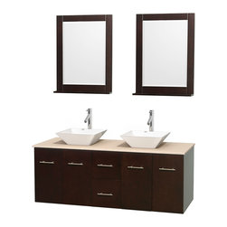 """Wyndham Collection - Centra Bathroom Vanity in Espresso,Marble Top,Pyra White Sinks,24"""" Mirs - Simplicity and elegance combine in the perfect lines of the Centra vanity by the Wyndham Collection. If cutting-edge contemporary design is your style then the Centra vanity is for you - modern, chic and built to last a lifetime. Available with green glass, pure white man-made stone, ivory marble or white carrera marble counters, with stunning vessel or undermount sink(s) and matching mirror(s). Featuring soft close door hinges, drawer glides, and meticulously finished with brushed chrome hardware. The attention to detail on this beautiful vanity is second to none."""