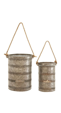 Benzara - Elegant Metal Galvanized Lantern, Set of 2 - With its galvanized construction, Elegant and Attractive Metal Galvanized Lantern (Set of 2) is the perfect decor accessory. This lantern set can be easily used to decorate outdoor settings and is also resistant to easy wear. Flaunting a tall, cylindrical shape, the sides of the metal lanterns are intricately detailed with filigree designs that elevate the visual aesthetics by several notches. The hollow space offered by these lanterns is ideal for placing a candle safely. The light emitted casts a captivating glow that lends a warm and welcoming look to interiors. Crafted with fine attention to details, the Metal Galvanized Lantern is sure to lend a distinct look to home settings. Made from premium grade galvanized metal, these simple lanterns are a wonderful mix of reliable functionality and lasting performance.