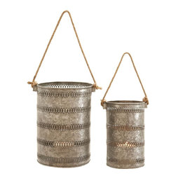 Benzara - Elegant Metal Galvanized Lanterns, Set of 2 - With its galvanized construction, Elegant and Attractive Metal Galvanized Lantern (Set of 2) is the perfect decor accessory. This lantern set can be easily used to decorate outdoor settings and is also resistant to easy wear. Flaunting a tall, cylindrical shape, the sides of the metal lanterns are intricately detailed with filigree designs that elevate the visual aesthetics by several notches. The hollow space offered by these lanterns is ideal for placing a candle safely. The light emitted casts a captivating glow that lends a warm and welcoming look to interiors. Crafted with fine attention to details, the Metal Galvanized Lantern is sure to lend a distinct look to home settings. Made from premium grade galvanized metal, these simple lanterns are a wonderful mix of reliable functionality and lasting performance.