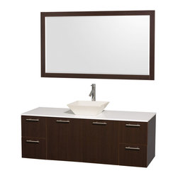 "Wyndham - Amare 60"" Wall Single Vanity Set in Espresso with White Stone Top & Bone Procela - Modern clean lines and a truly elegant design aesthetic meet affordability in the Wyndham Collection Amare Vanity. Available with green glass or pure white man-made stone counters, and featuring soft close door hinges and drawer glides, you'll never hear a noisy door again! Meticulously finished with brushed Chrome hardware, the attention to detail on this elegant contemporary vanity is unrivalled.; Constructed of beautiful veneers over the highest grade MDF, engineered for durability, and to prevent warping and last a lifetime; 8-stage preparation, veneering and finishing process; Highly water-resistant low V.O.C. sealed finish; Unique and striking contemporary design; Modern Wall-Mount Design; Deep Doweled Drawers; Fully-extending soft-close drawer slides; Counter options include Green Glass, White Man-Made Stone, and Caesarstone (many colors available); Single-hole faucet mount; Available with Porcelain, Granite, and Marble vessel sink(s); Single-hole faucet mount; Faucet(s) not included; Mirror included; Metal exterior hardware with brushed chrome finish; Two (2) functional doors; Two (4) functional Drawers; Plenty of storage space; Includes drain assemblies and P-traps for easy assembly; Minimal assembly required; Weight: 302 lbs; Dimensions: Vanity: 60""W x 22-1/4""D x 21-1/4""H Sink adds 5 to 5 1/2"" to height; Mirror(s): 71""L x 36""D x 3""H"
