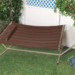 "Bliss Hammock Quilted Hammock with Polyester Pillow with ""S"" Stitch - The Bliss Hammock Quilted Hammock with Polyester Pillow with ""S"" Stitch contours to your body and keeps the filling in place. Easy-to-clean colorfast polyester fabric is UV and weather resistant for an attractive look that will last. Other premium features include mahogany varnished, non-decaying hardwood spreader bars, an o-ring chain made of rust-resistant steel and a detachable button-tuft pillow for added comfort and ease of use."