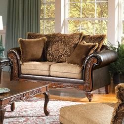 "Acme Furniture - Fairfax Loveseat in Chocolate PU - Fairfax Loveseat in Chocolate, Splurge & PU; Finish: Chocolate, Splurge & PU; 53% Cotton, 47% Polyester; Dimensions: 71""L x 38""D x 40""H"