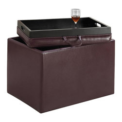 Convenience Concepts - Accent Storage Ottoman in Purple - Reversible tops. Providing additional storage. Removable lid provides easy access and serves as a tray. Ideal for home office or student. Limited warranty. Made from PVC. No assembly required. 23 in. L x 15.7 in. W x 15.7 in. H (14 lbs.)You'll be sure to enjoy it for years to come.