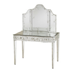 Currey and Company - Currey and Company 1300 Gilda Traditional Vanity Mirror - A vanity mirror enhanced with antique mirrored accents. Pairs perfectly with the Gilda Vanity, item #4004