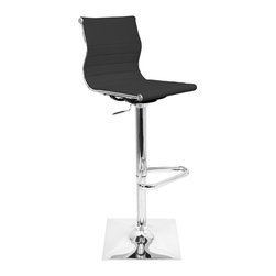 Lumisource - Master Bar Stool - Black - The Master Bar Stool is the perfect marriage of modern style and comfort. With its slightly angled leatherette seat and chrome base, this bar stool is as appealing to the eye as it is to the body. Great addition to your rec room or office conference areas.. 18 in. L x 15.5 in. W x 37.5 - 46 in. H . Seat Height: 25 - 33.25 in.