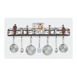 Hi-Lite MFG - Authentic Iron 46 in. Wall Rack - Made to Order - Lead time is approx. 2-4 Weeks before shipping. Includes six rack hooks. Accessories not included. Projection: 6.5 in.. Made from steel. Black leather finish with brushed copper. 46 in. L x 5 in. HHi-Lite achieved success through attention to detail and stubbornness to only manufacture the highest quality product. Hi-Lite has built its reputation as a premier lighting manufacturer by using only the finest raw materials, inspirational designs, and unparalleled service. This allows us great flexibility with our designs as well as offering you the unique ability to have your custom designs brought to light.