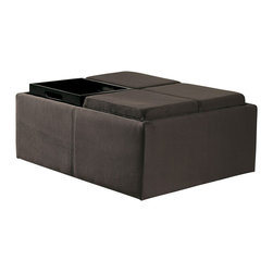 Homelegance - Homelegance Kaitlyn Square Cocktail Ottoman w/ 4 Storage - Mocha Rhino Microfibe - Functional cocktail ottoman features storage and seating that reverses to reveal 4 individual serving trays.