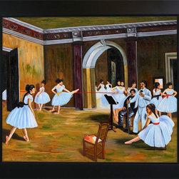 "overstockArt.com - Degas - Dance Studio at The Opera Oil Painting - 20"" x 24"" Oil Painting On Canvas Hand painted oil reproduction of a famous Degas painting, Dance Studio at the Opera. The original masterpiece was created in 1872. Today it has been carefully recreated detail-by-detail, color-by-color to near perfection. Edgar Degas was born in Paris in 1834 and studied art from a young age. His most popular paintings were and still are his ballerina paintings like The Dance Class , Star Dancer (On Stage) , and Dance Studio at the Opera. Asymmetrical compositions like Two Dancers on Stage show the influence of the Japanese prints in which Degas became interested. His painting career was prematurely ended by failing eyesight, and he died in Paris in 1917. This work of art has the same emotions and beauty as the original. Why not grace your home with this reproduced masterpiece? It is sure to bring many admirers!"