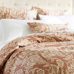 Alessandra Reversible Duvet Cover, Full/Queen, Red - A 250-year-old hand-blocked textile from Provence was the model for our Alessandra floral. We collaborated with our fabric printer to capture its design, then printed it on weighty, textural linen/cotton for bedding of extraordinary substance. Woven of linen/cotton. Duvet and sham reverse to self. Duvet cover has interior ties and a button closure. Sham has an envelope closure. Duvet cover, sham and insert sold separately. Machine wash. Imported.