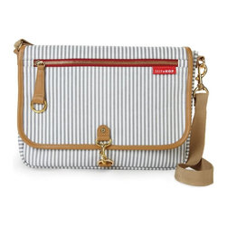 Skip Hop - Skip Hop SOHO Cross Body Diaper Clutch - French Stripe Multicolor - 205251 - Shop for Diaper and Bottle Bags from Hayneedle.com! Ooh la la the Skip Hop SOHO Cross Body Diaper Clutch - French Stripe is a fashion-forward diaper clutch you'll be happy to carry. This handy little diaper clutch is compact yet loaded with storage possibilities. It's made of laminated polyester for easy cleaning and has a thin French stripe pattern you'll adore. It comes complete with a padded changing pad and wipes case. The clutch features a cross-body strap handy front zipper pocket and three interior pockets to make it extra convenient.About Skip HopThe ultimate goal of Skip Hop is to develop products that make parenting better. Skip Hop is a New York City company devoted to the design of groundbreaking products to suit a new generation of parents. At Skip Hop they truly understand today's moms and dads because that's who they are. They're in tune with the cool person you were before parenthood and know that you're even cooler now that you're a mom or dad. Skip Hop gets it. They strive to create products that are smarter more innovative and safer. These are products that appeal not only to your heart but to your modern sense of design. A percentage of each Skip Hop product sold is given to support various organizations such as the Pediatric Aids Foundation and The Ovarian Cancer Research Fund.
