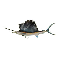 "Mount This Fish Company - 54"" Sailfish Two Sided Wall Mount Fish Replica - This 54"" sailfish fish mount replica is the perfect little space filler to add some coastal flair to any modern or contemporary design theme.  This item is a two sided wall mount which means it has a front and backside and all the area that is viewable when up on the wall is finished.  Cleaning is a breeze with any feather duster or can be wiped with cloth and windex.  A bracket is included on the backside for easy installation. This item takes 1-2 weeks to produce and ships via Fed Ex Ground.  Item ships insured."
