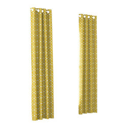 Yellow Modern Trellis Custom Grommet Drapery Single Panel - Channeling the minimal, streamlined style of modern decor, the undulating folds of Grommet Drapery have been a long-time favorite for contemporary spaces.   We love it in this rounded trellis in yellow & white on soft lightweight line. your gateway to a chic modern look.
