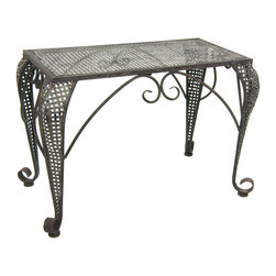 Oriental Furniture - Foldable Wrought Iron Rustic Garden Table - You and your guests will be enchanted by this wrought iron table's elegant curves and delicately latticed sides. Weather resistant and durable, this table has been designed with both indoor and outdoor use in mind. The hand painted finish has a unique, antique appearance that harmonizes wonderfully in the fashionable modern home.