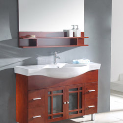 None - Ceramic Sink Top Single Sink Bathroom Vanity with Matching Mirror - This modern bathroom vanity is constructed of solid wood in a cherry brown finish and features a matching mirror. This cabinet has an exquisite contemporary design.
