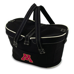 Picnic Time - University of Minnesota Mercado Picnic Basket in Black - This Mercado Basket combines the fun and romance of a basket with the practicality of a lightweight canvas tote. It's made of polyester with water-resistant PEVA liner and has a fully removable lid for more versatility. Take it to the farmers market, the beach, or use it in the car for long trips. Carry food or sundries to and from home, or pack a lunch for you and your friends or family to share when you reach your destination. The Mercado is the perfect all-around soft-sided, insulated basket cooler to use when you want to transport a lunch or food items and look fashionable doing it.; College Name: University of Minnesota; Mascot: Golden Gophers; Decoration: Digital Print; Includes: 1 removable canvas lid