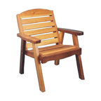 Red Cedar Deck Chair - Lounge around in our Red Cedar Lounge Chair.  Ingeniously crafted with Western Red Cedar, this beautifully crafted chair will fit perfectly with your lawn, garden or pool areas.  The above image shows our chair stained but it will come to you natural, ready for you to stain or seal as you wish.  Use it with the Red Cedar Coffee Table or with one of our Adirondack Tables.  Mix and