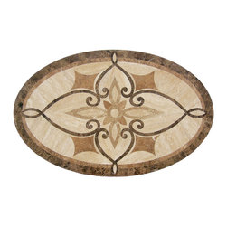 Floor Medallions Online - Oval Waterjet Medallion - Winchester - The oval-shaped Winchester is a medium-weight design constructed of Italian marble, granite, travertine and onyx. The Winchester's use of multiple subtle motifs and light colors gives it a subtle intricacy that provides a different, yet equally compelling feel either at a glance or on further observation.