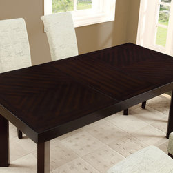 None - Dark Espresso Veneer Top Dining Table - A gorgeous dark espresso,this dining table is the perfect way to upgrade your dining room. With sturdy legs and a clean,rectangle shape,this table is both functional and stylish.