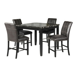 """Acme - 5-Piece Blythe Collection Square Black Finish Wood and Faux Marble Table Set - 5-Piece Blythe collection square black finish wood and faux marble top counter height dining table set with leather like seating. This set includes the table with a faux marble top, leather like upholstery. Table measures 42"""" x 42"""" x 36"""" H. Chairs measure 24"""" H to the seat. Some assembly required."""