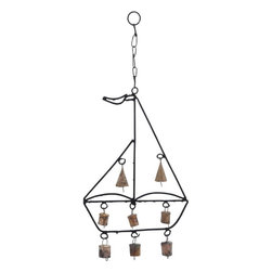 Benzara - Metal Boat Wind Chime with Sail Boat Design - This Metal Wind Chime with a Sailboat Design takes you a step closer to your ambition of exploring the world. Featuring an intricate and masterful design of a sailboat, complete a flag waving at the top, this metallic wind chime is a great addition to your home decor. It instantly infuses a rustic feel into your home and is sure to become the cynosure of all eyes. With six bells attached to the body of the boat, and a two special conical bells attached to the sails, this boat almost seems to sail over water as it sways to the gentle breeze. The bells emit lilting metallic melodies that sound serene and peaceful. Crafted from durable and rustproof metal, this wind chime also features all-metal links and a hook for hanging it up anywhere you like. It might figure in your love-to-haves list of possessions..