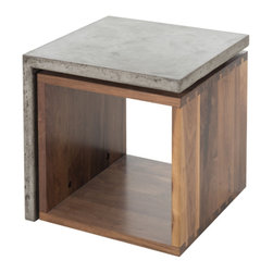 Marco Polo Imports - Parker Munari Side Table - This timelessly stylish urban side table is crafted by hand from sustainably harvested and reclaimed woods and polished concrete. Juxtaposing warm patinas with refined woods and smooth concrete, this table lends a sense of history to any space, though never appears dated. The artistic use of tone ensures every one-of-a-kind piece is a focal point able to blend beautifully with others.