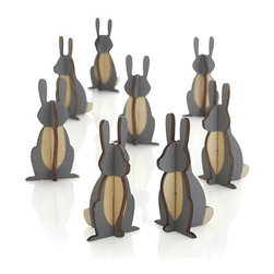 Set of 8 Woodland Bunnies - Plywood silhouettes intersect to create dimensional, minimalist and entirely charming bunnies, free to roam as table decorations, place setting accompaniments or holiday accents throughout the home.