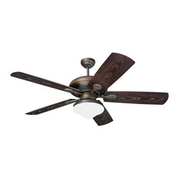 """Monte Carlo - 54"""" Monte Carlo Shores Bronze Outdoor Ceiling Fan with Light - Perfect for outdoor use, this ceiling fan has five Roman bronze ABS  grain finished blades and white glass light kit. The Monte Carlo Shows outdoor ceiling fan comes with a Roman bronze finish and light kit. It has been specially designed for use in outdoor and wet locations. Features a 54"""" blade span, 15 degree blade pitch, and a 188 x 25mm torque-induction motor for whisper quiet operation. Includes a three speed reversible motor, and a manufacturer's limited lifetime warranty."""