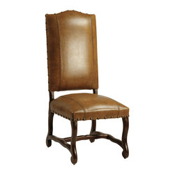 Dovetail Furniture - Barcelona Side Chair - Antique Brown - Hand made in solid teak frame with dark brown sealed finish.  Full grain leather with stitch detailing and accented with antiqued brass nailheads.