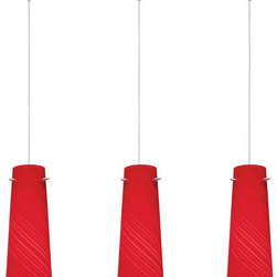 ET2 - ET2 E94846-111 3 Light Adjustable Height Pendant Sprial Collection Coll - ET2 E94846-111 Sprial Collection 3 Light Adjustable Height PendantWhimsical and elegant, this mini pendant features a red spiral cone shaped shade that is sure to find a home in any decor. Featuring a RapidJack no wire, no hassle installation and adjustable height, this fixture is a breeze to install.Sprial Collection embodies a collection of show-stopping, conversation-starting pendants that range from simple to chic. Featuring RapidJack, no wire, no hassle installation, available with single, triple, or quadruple Xenon light sources, these Sprial Collection pendants boast a variety of finishes, shapes, and functions that suit most any room. For more information on Sprial Collection, check out Custom Pendant Systems.ET2 E94846-111 Features: