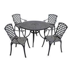 """Crosley - Sedona 48"""" Five-Piece Cast Aluminum Outdoor Dining Set - Sedona 48"""" Five Piece Cast Aluminum Outdoor Dining Set with High Back Arm Chairs in Black Finish Relax outside for hours on our nostalgically inspired Griffith metal outdoor furniture. Kick back while you reminisce in this seating set, designed to withstand the hottest of summer days and other harsh conditions. The furniture's non-toxic, powder-coated finish is available in various colors to complement your outdoor accessories."""