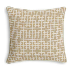 Beige Woven Square Lattice Corded Pillow - Black and white photos, Louis XIV chairs, crown molding: classic is always classy. So it is with this long-time decorator's favorite: the Corded Throw Pillow.  We love it in this interlocking square trellis woven in beige & white with a hint of sheen. equal parts plush & posh.