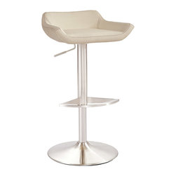 Zuri Furniture - Ray Adjustable Height Swivel Base Bar Stool - Distinctive and sophisticated, The Ray bar stool is the epitome of minimalist style and grace. Ray cloaks itself in a modern brushed stainless steel finish with a sleek low backrest and is available in both black and white. Need a perfect touch of class at your next party? Invite Ray.