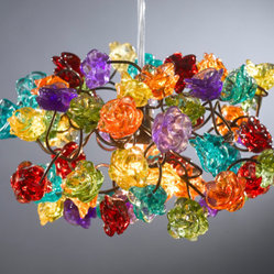 Ceiling Light Fixture, Rainbow-Color Roses by Flowers in Light