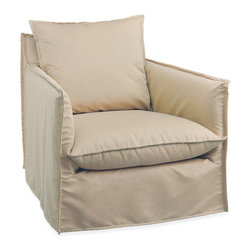 Malaga Outdoor Swivel Armchair in Spinnaker Sahara - Settle comfortably into the fabric-swathed luxury of this transitional outdoor armchair, then swivel to face friends and family who are relaxing with you on the deck or at the poolside.  Turned-out seams on the chair's sophisticated slipcover match those on the casual back and seat cushions for a textured look to the weather-safe upholstery, while high and narrow track arms encourage lounging in the elegant and convenient garden armchair.