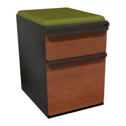 Mobile Pedestal with Fennel Fabric Seat and Laminate Front File Drawer / Storage - The Mobile Pedestal with Fennel Fabric Seat and Laminate Front File Drawer / Storage Drawer - 19 in. gives you a multitude of useful options. It comes complete with two drawers, both lockable, and a padded seat cushion in green.