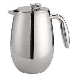 Bodum® Columbia 34 Ounce Stainless Steel Double Wall Thermal French Press - From the makers of the original, dome-topped French press coffee maker, this gleaming stainless thermal version with large, comfortable handle and tight twist-shut lid channels the look of a traditional percolator for today's modern kitchen and table. Double-walled design insulates contents to retain heat. The same plunger-style method brews rich, full-bodied coffee in just 4 to 10 minutes. It's so good, in fact, that it's been tested by the American Culinary Institute and recognized worldwide as one of the best ways to brew coffee.