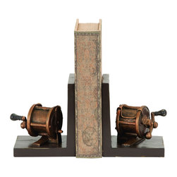 Benzara - Fishing Reel Themed Book End Set - A very useful set of book ends, each in the unique theme of an old fashioned fishing reel. Cast in industrial polystone, this set is built with all the detail for the fishing enthusiast. Place it perfectly on the bookshelf or on the fireplace mantle. But it's also useful holding up books in the home office or on the end table.