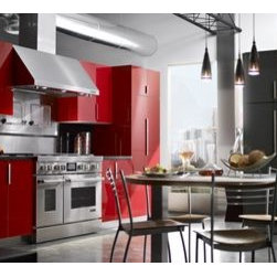 """Jenn-Air® Ventilation Options - The Jenn-Air® 48"""" Pro-Style® Range features powerful burners, a high-performance chrome-infused griddle, a distinctive LCD display and commercial-style details like diamond-etched handles."""