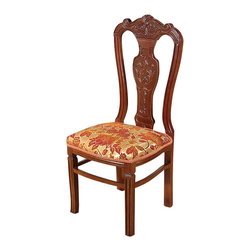 MBW Furniture - Set of 8 Mahogany Splat Back Floral Dining Side Chairs - This product is finely constructed from top grade kiln-dried Solid Mahogany. Artisans use the old world method of tongue and groove and mortise and tenon joinery to create this beautiful and durable piece of furniture. Its superb hand-crafted quality will add a touch of elegance to your home.