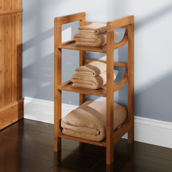 Three Tier Bamboo Towel Shelf - With three shelves of storage, this Bamboo Towel Shelf  features a refreshing design with smoothly rounded corners that lets you easily access bath towels.
