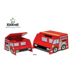 Fire Truck Step Stool - This step stool will have your little one all ablaze with excitement. Not only is the outside bold and super cool for those engine lovers, but it also provides sleek storage when its roof opens up.