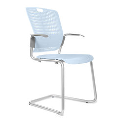 Humanscale - Light Blue Cinto Chair - Your café, waiting area or training room will be the epitome of cool with these armchairs. Each one features an icy-blue plastic seatback, pierced for airflow and lightness. The strong frames are light, and sit on a sled base that reminds you of wintry fun.