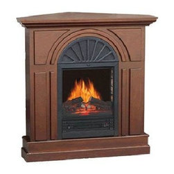 "World Marketing - Comfort Glow Prescott Fireplace - ** Drop Ship Only ** Kozy World ""Prescott"" Electric Fireplace - 38"" Walnut mantel.  flat wall or corner use.  Hand-held remote control. ** Not California CARB compliant. Factory Direct Drop Ship Only. **"