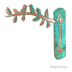 """Birds on a Branch Address Plaque 16"""" x 4"""" in Copper Verdi - Two sweet birds on a branch and an address plaque. This is just too cute for words...although we could put words on there too. This would make a really nice welcome plaque too...the options are limitless.  As with all our signs they are fully customizable send us an email if you want a different size."""