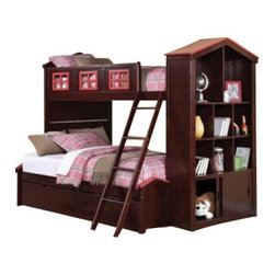 "Acme - Coyle Espresso and Red Finish Wood Twin Over Full Bunk Bed Set with Storage - Coyle espresso and red finish wood Twin over Full bunk bed set with storage bookcase end and paneled headboards with trundle. This set features a Twin over Twin bunk bed set with conversion kit to Full, with bookcase end with multiple shelves and storage cabinet on the bottom. set measures 92"" x 59"" x 71"" H. Some assembly required."
