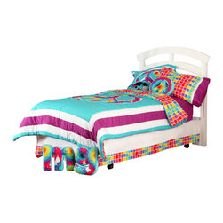 "Terrific Tie Dye - Twin Set (6pc) - Be one of a kind with our  bold and beautiful collection ""Terrific Tie Dye"".  This twin 6pc set includes:  twin comforter, twin bed skirt, twin sheet set (1 flat, 1 fitted and 1 standard pillowcase) and (1) standard flanged sham. Comforter is reversible -- giving room a completely different look and feel!  Front of the comforter designed in the collections fun colors in aqua blue, purple and framed outside of a large peace sign designed in the collections fabric ""Tie Dye"". All cotton print fabric.  Back of comforter is designed in the collections signature fabric ""Tie Dye Rows"" cotton print fabric.  Bed skirt designed in white and trimmed with ""Tie Dye Rows"".  Both cotton print fabrics. Sheet set includes (1) flat, (1) fitted sheet and (1) standard pillowcase.  Fitted sheet designed in solid purple as seen throughout entire collection.  Flat sheet is designed using ""Tie Dye Rows"".  Both in cotton print fabric.   Standard pillowcase is designed in ""Tie Dye Rows"" with hem and trim in white and purple cotton print fabric. Standard flanged sham is designed just like the comforter in solid aqua blue and purple fabrics with a peace sign in the center designed in ""Tie Dye"" cotton print fabric.  Back of sham is solid aqua cotton print fabric.  Make your statement in this fun room full of life!"