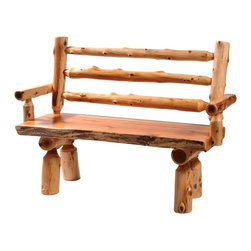 Fireside Lodge Furniture - Cedar Log Bench w Back & Armrests in Traditio - Choose Size: 72. inCedar Collection. Northern White Cedar logs are hand peeled to accentuate their natural character and beauty. Individually hand crafted. Clear coat catalyzed lacquer finish for extra durability. 2-Year limited warranty. 48 in. W x 24 in. D x 37 in. H (55 lbs.), Seat height: 18 in.. 60 in. W x 24 in. D x 37 in. H (65 lbs.), Seat height: 18 in.. 72 in. W x 24 in. D x 37 in. H (75 lbs.), Seat height: 18 in.