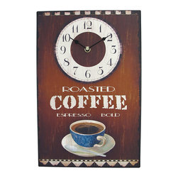 Zeckos - Roasted Coffee Espresso Metal Wall Clock 15 x 10 In. - This richly-colored wall clock features a retro coffee-house design that any coffee lover can admire. The metal face, with bold colors and a warm distressed design, portrays a warm cup of espresso and 'Roasting Coffee Espresso Bold' in antique diner-style font. It measures 15 inches long, 10 inches wide, and 1 inch deep. The clock has an open face and runs with quartz synchronization on one AA battery. Hanging slots in all four corners and on the clock instrument allow easy and stable bolstering on most walls. Open up your own cafe in your kitchen (roasting coffee scent not included).